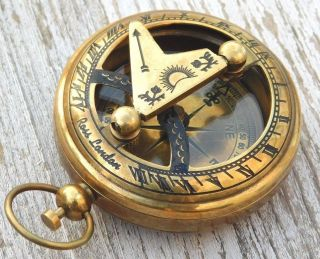 Sundial Compass Nautical Collectibles Brass Compass Pocket Sundial Compass Gift photo