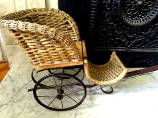 Wicker Doll Pull - Carriage Late 1700 ' S / Early 1800 ' S Cart Dog/goat Great photo