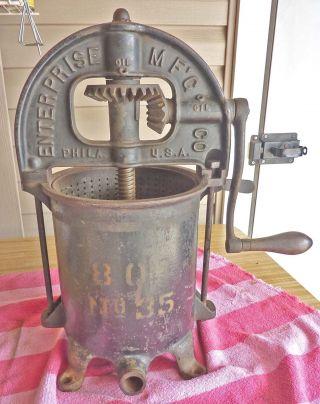 1883 Enterprise 8 Qt Model 35 Cast Iron Sausage Stuffer,  Cider,  Fruit,  Lard Pres photo