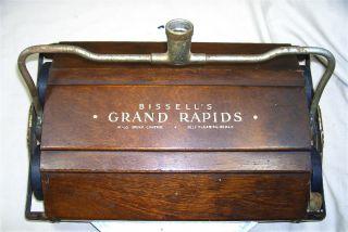 Vintage 1930s Bissell Mechanical Floor Carpet Sweeper Head Wood Case Vgc 4171 photo