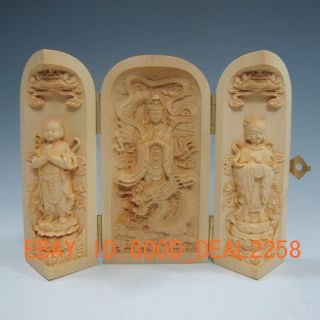 Boxwood Highly Difficulty Carved Floding Box - - - Kwan - Yin & Zenzai Boy & Maid photo