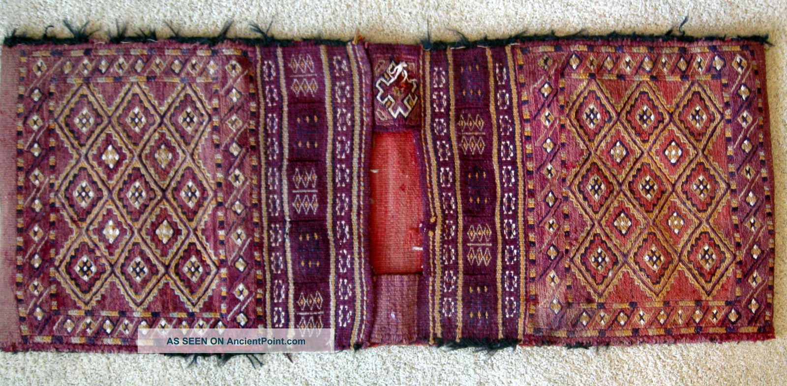 Antique Vtg Tribal Hand Knotted Wool Double Saddle Bag Mid East Camel Bag Rug Small (3x5 and smaller) photo