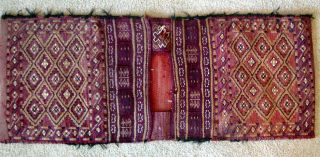 Antique Vtg Tribal Hand Knotted Wool Double Saddle Bag Mid East Camel Bag Rug photo
