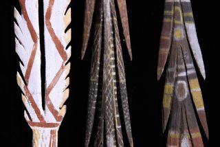 3 Early Aboriginal Decorated Spears Tiwi & Arnhem Land photo