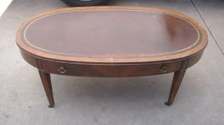 Antique Wooden Oval Coffee Table With Leather Top & Drawer photo