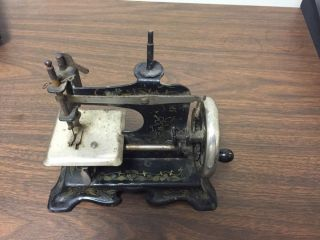 Antique Miniature Mini Germany Toy Child Kid Sewing Machine Metal Vintage Black photo