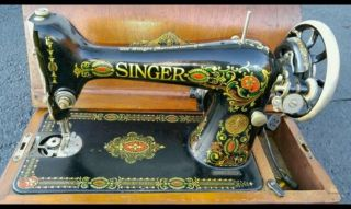 Antique 1921 Singer 66 Red Eye Design Sewing Machine W/ Case In Very Good Cond. photo