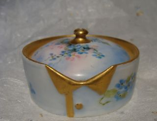 Antique Rosenthal Germany Hand Painted Porcelain Stud Collar Button Box German photo