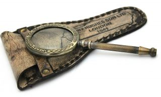 Sherlock Holmes Hand Lens Vintage Old Patina Bras Magnifying Glass Antique Mg 01 photo