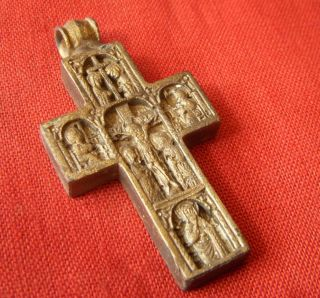 T156.  Medieval Style Bronze Double Faced Cross. photo