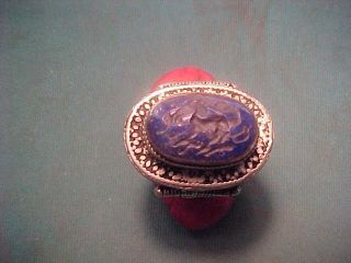 Offer Near Eastern Hand Crafted Intaglio Ring (elephant) Lapis Stone photo