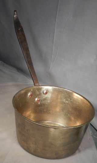 Early Antique Cast Turned Brass Wrought Iron Cooking Pan Pot Copper Rivets photo
