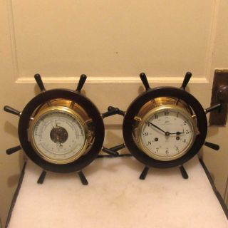 Vintage Schatz Royal Mariner Clock And Barometer photo