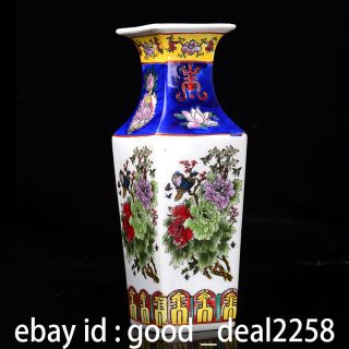 Hand - Painted Chinese Quartet Painted Porcelain Peony Vase W Qian Long Mark photo