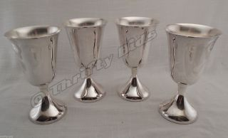 4 Pc.  Silverplated 8 Oz.  Wine Goblets Glasses Unknown Maker & Age Silverplate photo
