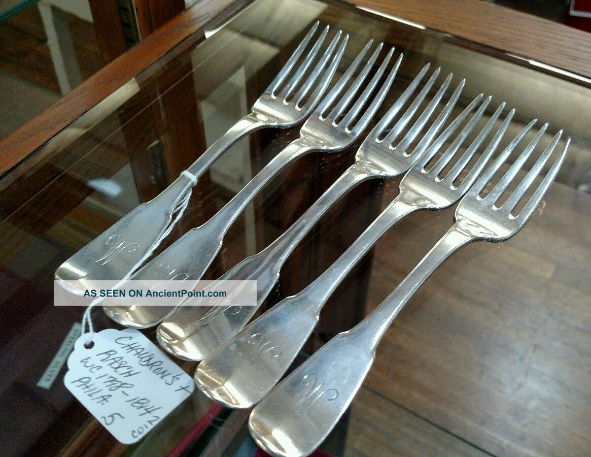 5 Heavycoin Silver Forks By Chaudron ' S,  Rasch 1798 - 1814 Philadelphia Coin Silver (.900) photo