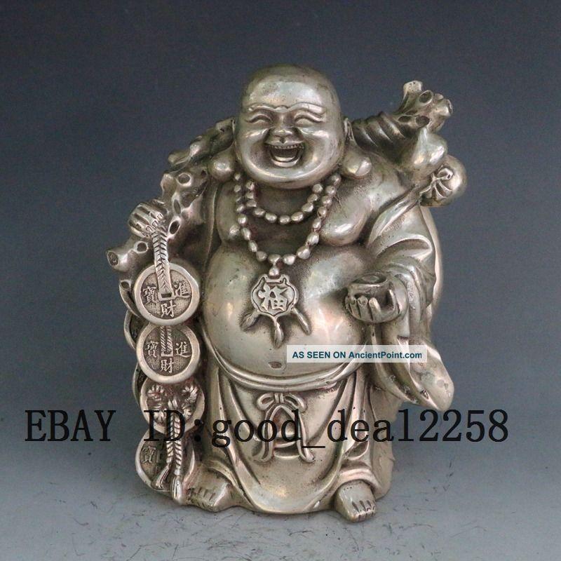 Chinese Hand Carved Silver Copper Maitreya Buddha Statue W Qianlong Mark Buddha photo