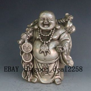 Chinese Hand Carved Silver Copper Maitreya Buddha Statue W Qianlong Mark photo
