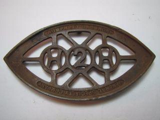 Antique Cast Iron H2h General Specialty Company Humphrey Gas Iron Trivet photo