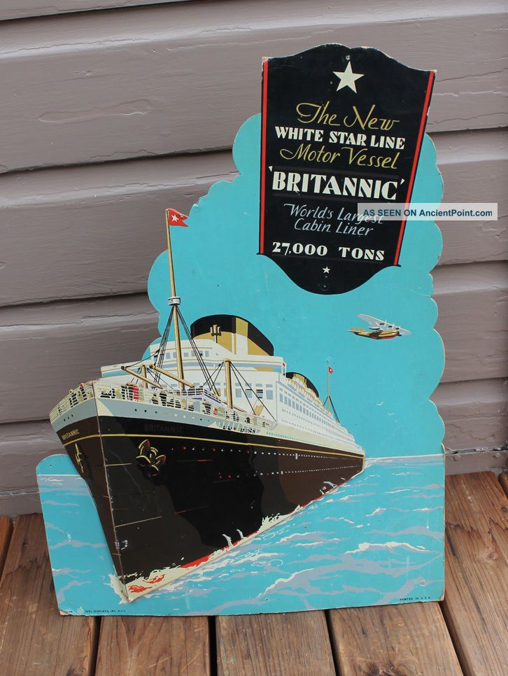 Antique Mv Rms Britannic Ship Ocean Liner White Star Lines Travel Agents Sign Plaques & Signs photo