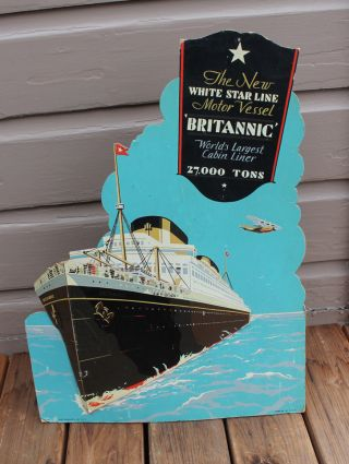 Antique Mv Rms Britannic Ship Ocean Liner White Star Lines Travel Agents Sign photo