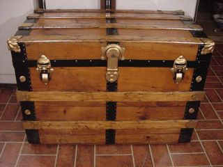 Ladycomet Refinished Flat Top Steamer Trunk Antique Chest With Key,  & Tray photo