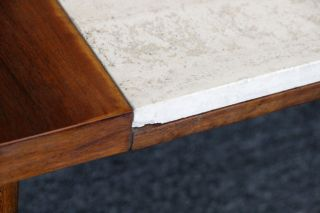 Mid Century Danish Modern Walnut Coffee Table Marble Top Eames Era photo