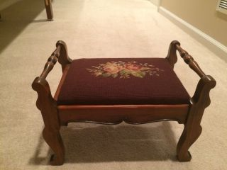 Vintage Primitive Needlepoint Stool Rose Floral Hand Stitched photo