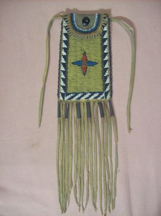 Antique Native American Sioux Indian Beaded Strike - A - Lite Bag Western Americana photo