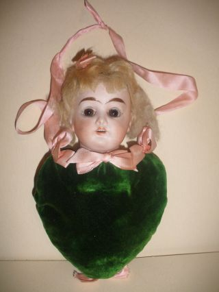 Antique Germany Bisque Doll Head Pin Cushion Heart Shape photo