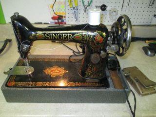 Singer Model 66 Red Eye Antique Sewing Machine W/motor Antique 1917 Necchi Case photo