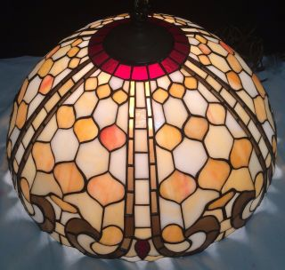 Antique Tiffany Style Stained Leaded Glass Lamp Shade 20