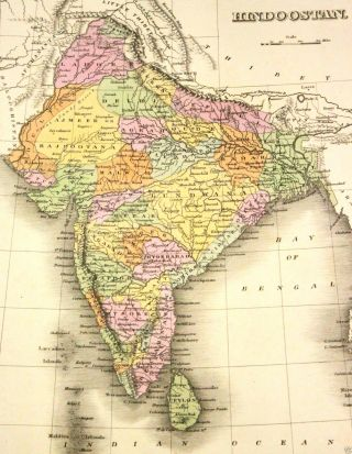 Orig Antique Map 1827 Asia,  India - Hindoostan - Thibet - Hand Colored A Finley photo