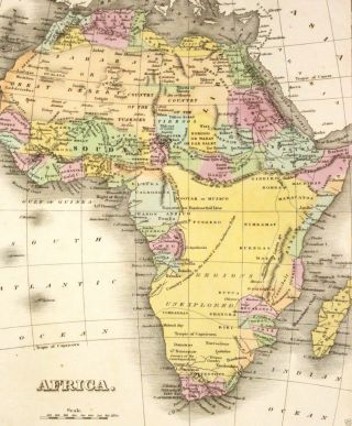 Orig Antique Map 1827 Africa - Unexplored Regions Many Defunct Countries,  Finley photo