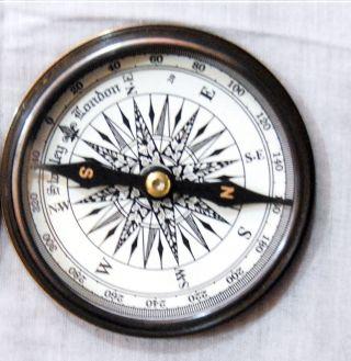 Antique Brass Poem Compass Pocket Compass Robert Frost Maritime Brass Compass photo