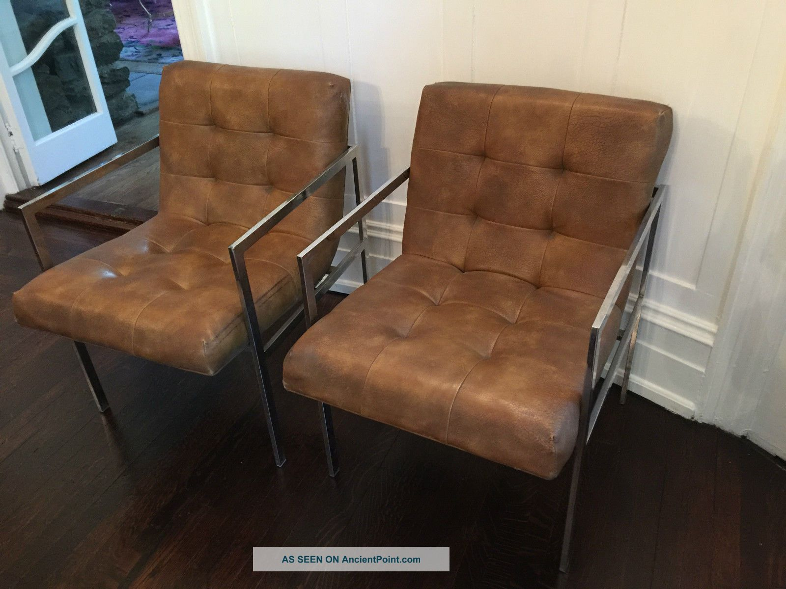 Ordinaire Milo Baughman Style Patrician Furniture Leather Sofa And 3 Arm Chairs 1960  U0027 S