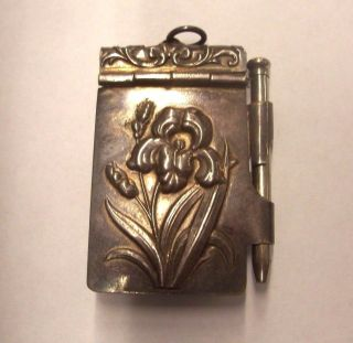 Wonderful Art Nouveau Iris Floral - Silver Pendant Note Pad & Pencil photo