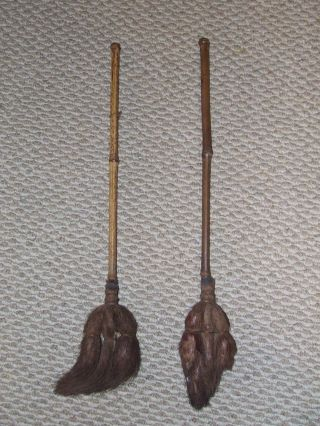 Antique Pair 19th C.  Victorian Fireplace Hearth Broom Brush Ash Brushes photo