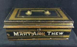 Antique Large Steel Strong Box For Deeds & Documents Brass Handle Mary Ann Thew photo