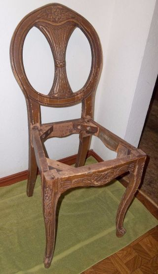 Antique Wood Vanity French Style Boudoir Chair For Restore Or Repurpose photo