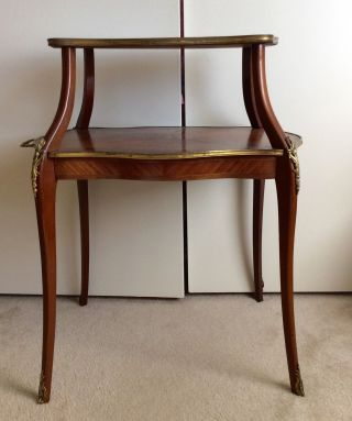 Vintage Two Tier Mahogany Marquetry Coffee Table Louis Xv Style photo