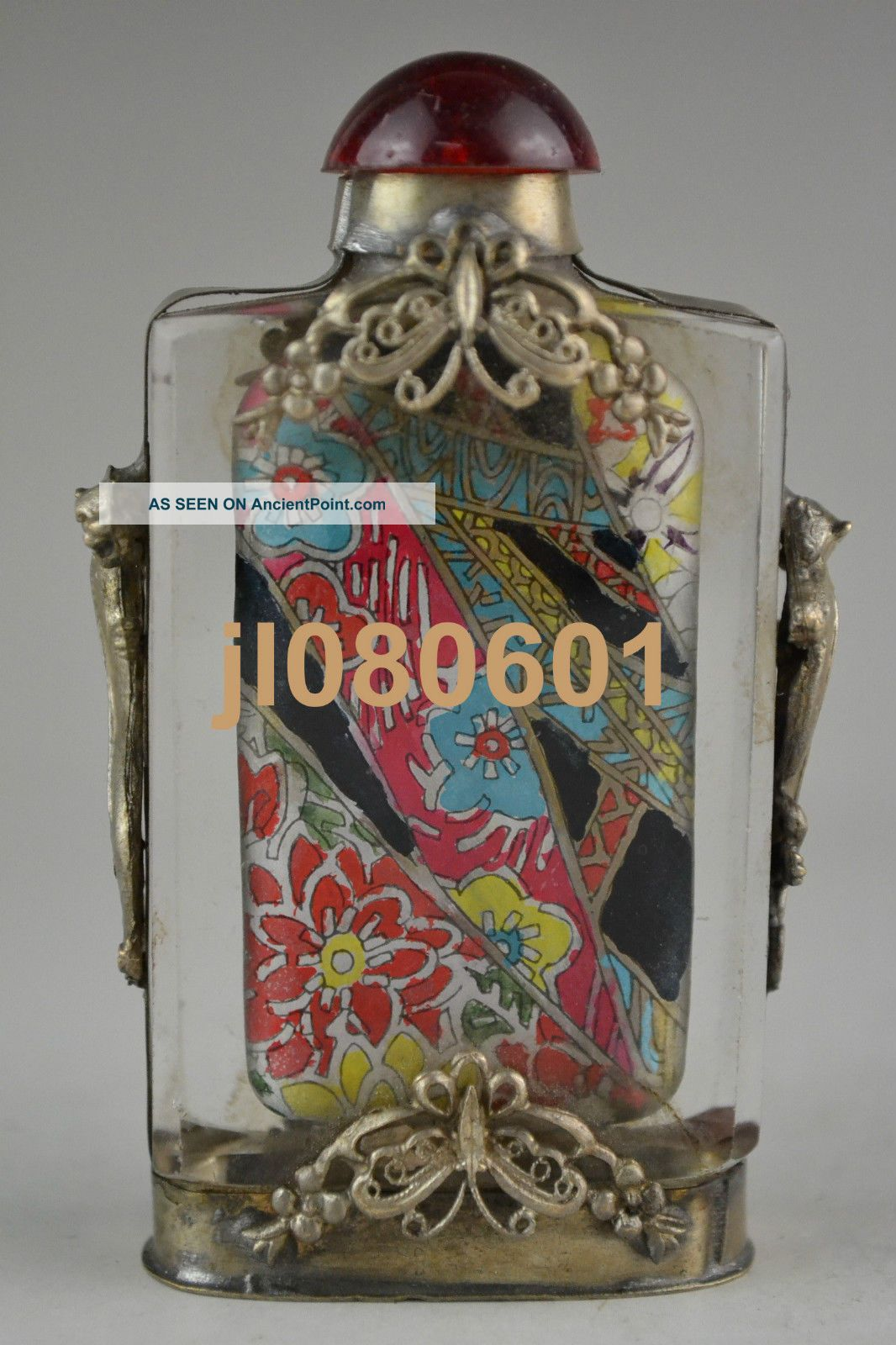 Handwork Glass Inside Painting Flower Opera Armoured Butterfly Snuff Bottle Snuff Bottles photo