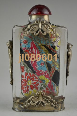 Handwork Glass Inside Painting Flower Opera Armoured Butterfly Snuff Bottle photo