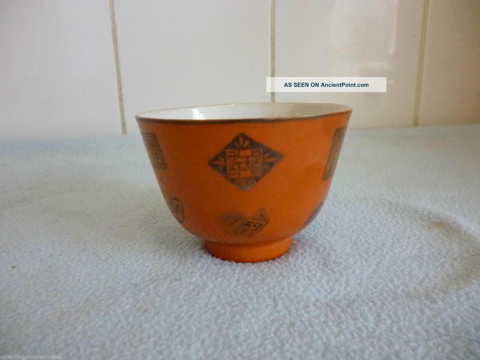 Chinese Orange Porcelain Bowl Decoration Buddha Symbols And Seals Porcelain photo