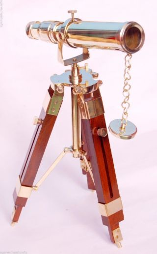 Nautical Collectible Single Barrel Brass Telescope With Wooden Tripod Stand photo