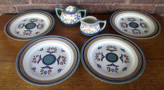 Antique Arnhem Gouda Ispahan Faience 4 Plates Sugar Cream Rooster Mark Holland photo