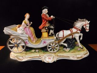 28073 Large Dresden Horse Carriage/ Coach Victorian Lady & Dog Coachman Figurine photo