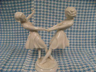 White Porcelain Figurine - Hutschenreuther - Dancing Girls photo