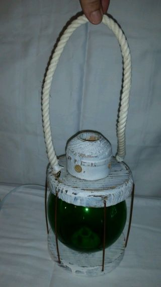 Electric Glass Fishing Float Lamp Lantern Nautical Green Starboard Beach Lamp photo