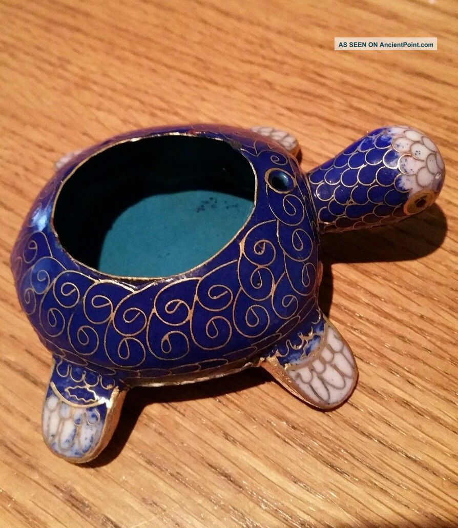 Chinese Vintage Cloisonne And Enamel Turtle Trinket Box. Cloisonne photo